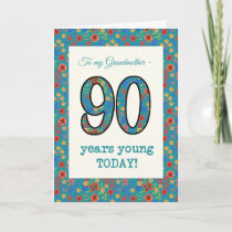Floral Birthday Card 90 Years Young Grandmother