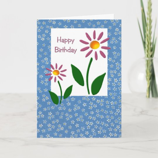 Floral Birthday Card Large Print