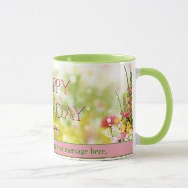 Coffee Themed Floral Birthday Mug - PERSONALIZE - GARDEN