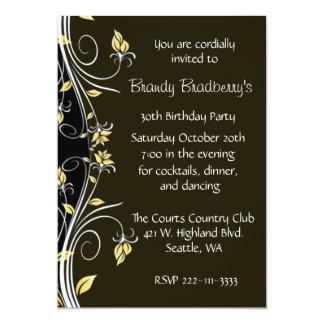 "Floral Birthday Party Invitation 5"" X 7"" Invitation Card"