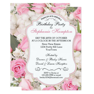 Floral Birthday Party Invitation with Pink Roses