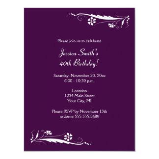 Floral Birthday Party Invitations in Dark Purple