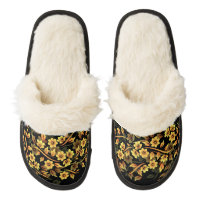 Floral Black and Gold Pair Of Fuzzy Slippers