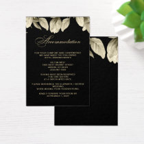 Floral Black and Gold wedding accommodation cards
