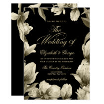 Floral Black and Gold wedding Card