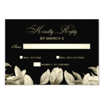 Floral Black and Gold wedding rsvp Card