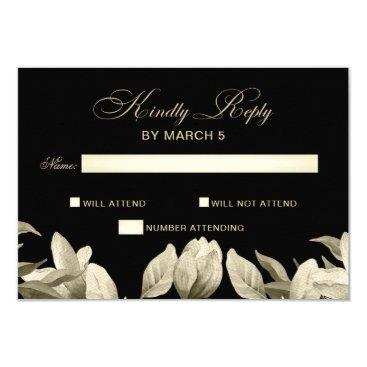 Floral Black and Gold wedding rsvp Card