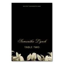 Floral Black and Gold wedding table name cards