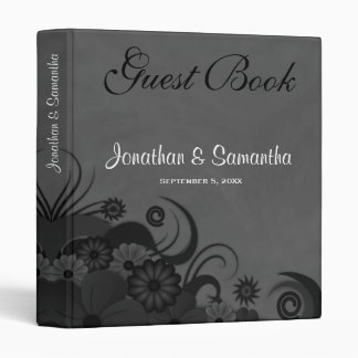 "Floral Black and Gray 1"" Wedding Guest Book Binder"