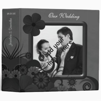"Floral Black and Gray 2"" Wedding Guest Book Album Binder"