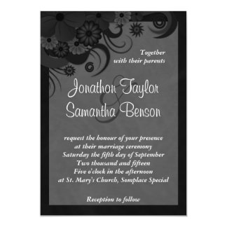 """Floral Black and Gray 5"""" x 7"""" Wedding Invitations"""