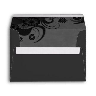Floral Black and Gray Elegant Custom Envelopes