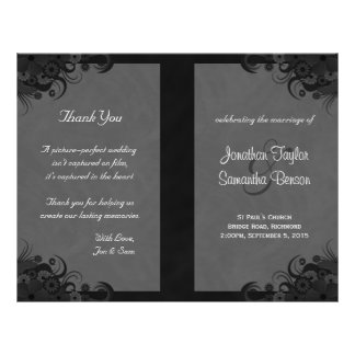 Floral Black and Gray Goth Folded Wedding Programs