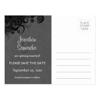 Floral Black and Gray Goth Save The Date Postcards