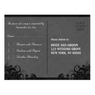 Floral Black and Gray Gothic RSVP Reply Postcards