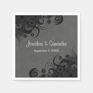 Floral Black and Gray Gothic Wedding Paper Napkins