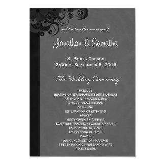 Floral Black and Gray Gothic Wedding Programs