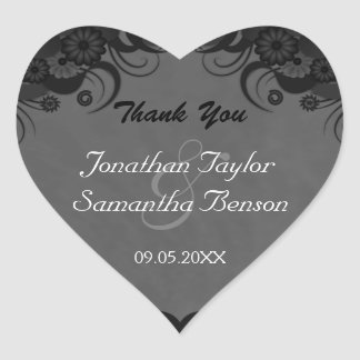 Floral Black and Gray Heart Wedding Favor Stickers