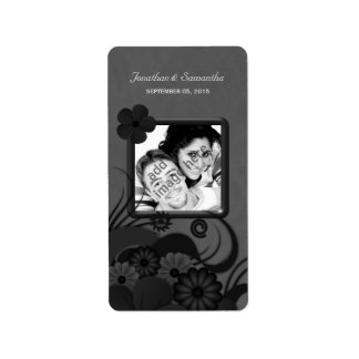 Floral Black and Gray Photo Gothic Favor Labels