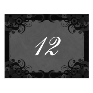 Floral Black and Gray Reception Table Number Cards