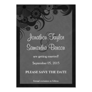 Floral Black and Gray Save The Date Announcements