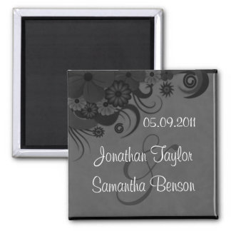 Floral Black and Gray Save The Date Fridge Magnets