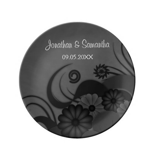 "Floral Black and Gray Wedding 8.5"" Porcelain Plate"