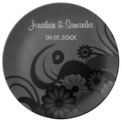 Floral Black and Gray Wedding Porcelain Plates