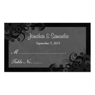 Floral Black and Gray Wedding Table Place Cards