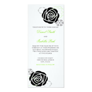 Floral Black and Green Wedding Invitation 4 x 9