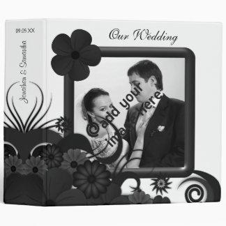 "Floral Black and White 2"" Wedding Guest Book Album Binder"