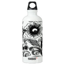 floral black and white aluminum water bottle