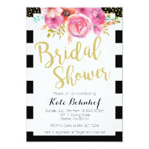 Floral Black and White Bridal Shower Invitation