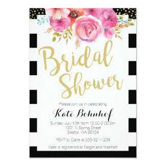 Black and white invitations announcements zazzle for Black and white bridal shower invitations