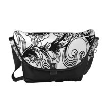 floral black and white courier bag