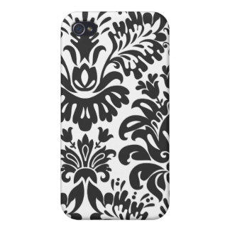 Floral Black and White Damask  iPhone 4 Cases