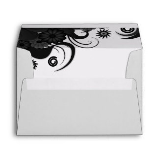 Floral Black and White Elegant Custom Envelopes