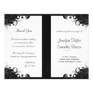 Floral Black and White Goth Folded Wedding Program