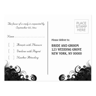 Floral Black and White Gothic RSVP Reply Postcards