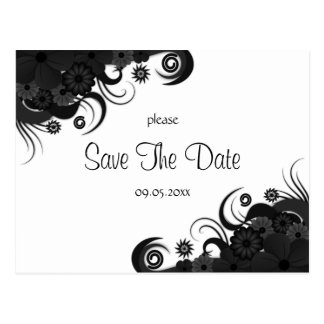Floral Black and White Gothic Save The Date Cards