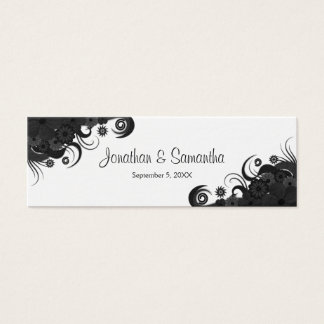 Floral Black and White Gothic Wedding Favor Tags