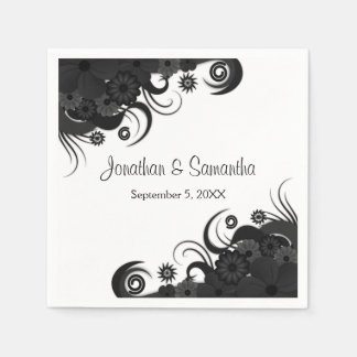 Floral Black and White Gothic Wedding Paper Napkin