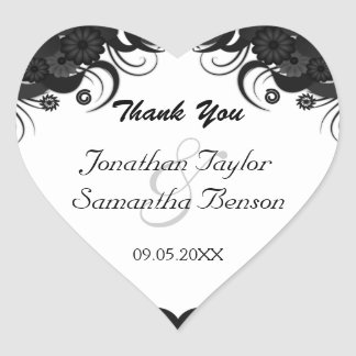 Floral Black and White Heart Wedding Favor Sticker