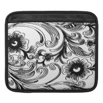 floral black and white iPad sleeve