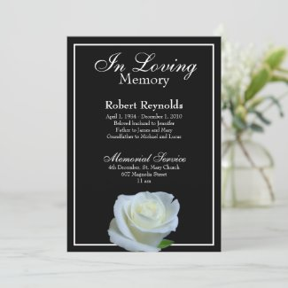 Floral Black and White Memorial or Funeral Invitation