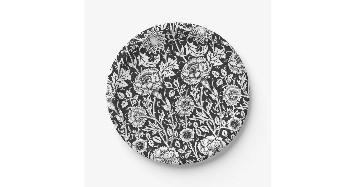 Floral Black And White Paper Plates Zazzle Com