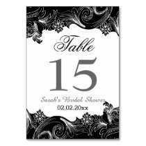 Floral black and white Personalized table numbers