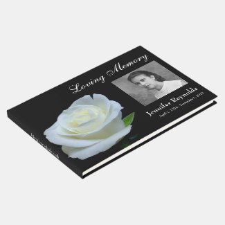 Floral Black and White Photo Funeral Memorial Guest Book