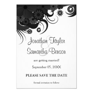 Floral Black and White Save The Date Announcements