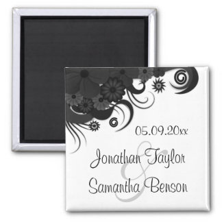 Floral Black and White Save The Date Fridge Magnet
